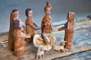 brown christmas ceramic figurines