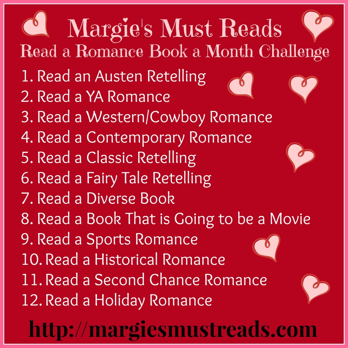Margie's Must Reads...Read a Romance Book a Month Challenge!