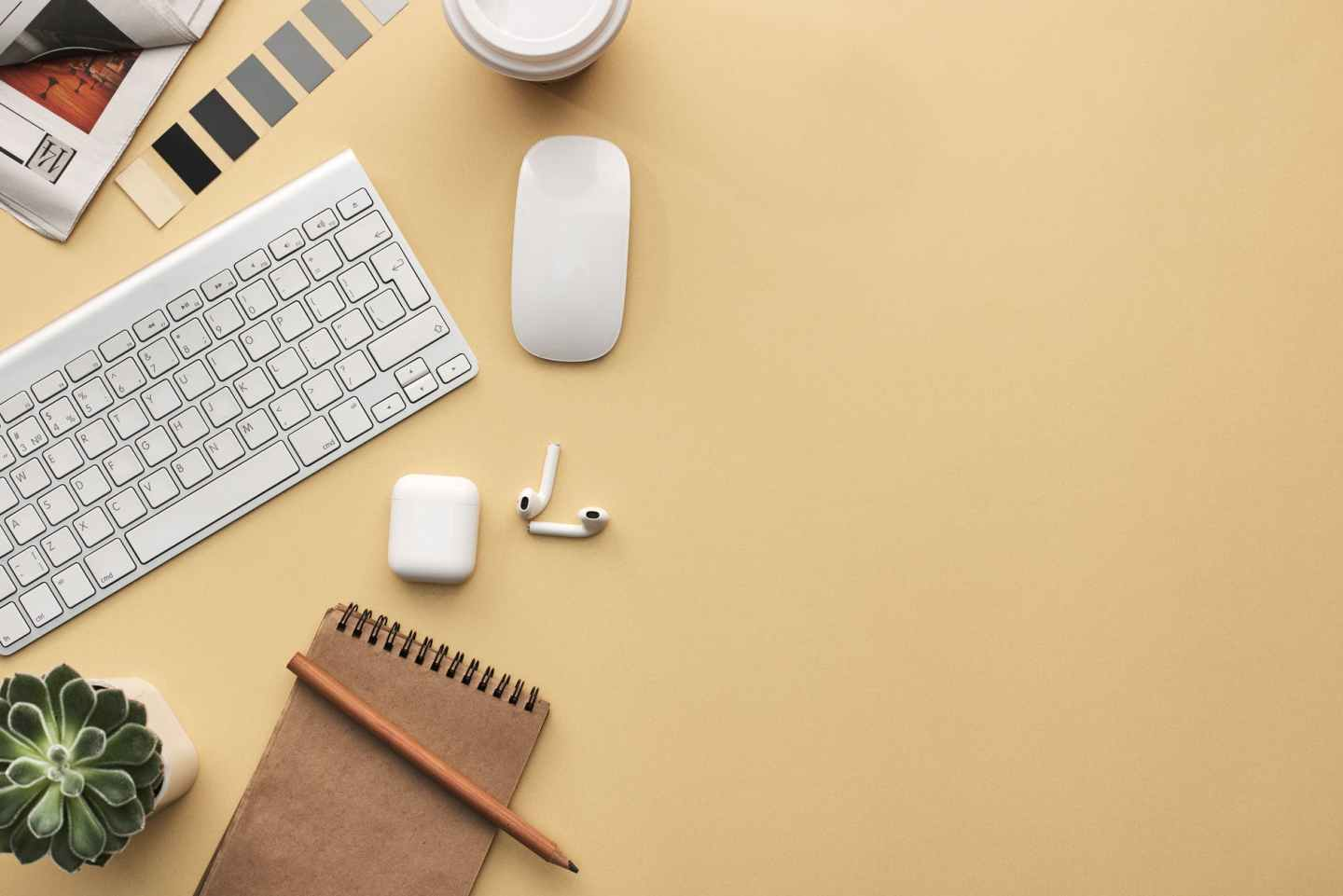 keyboard and mouse on beige background