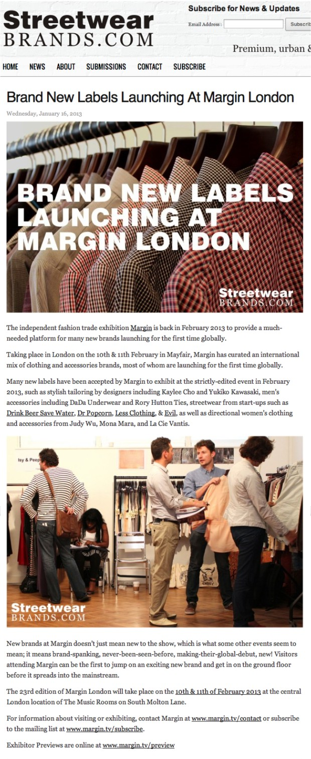 StreetwearBrands.com + Brand New Labels Launching At Margin London