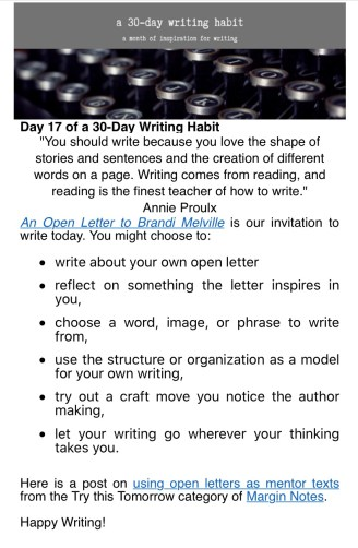 30 Day writing habit