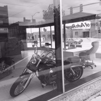 Small Town USA Motorcycle by Desk