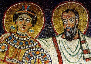 Mosaic of Paul presenting Praxedes to Christ