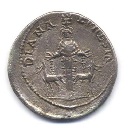 117-138 AD Silver Cistophorus Rev. DIANA EPHESIA. Cult statue of Artemis Ephesia
