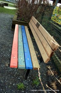 bench in playground from side