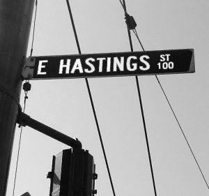 East Hastings street sign