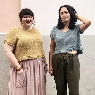 2 women standing together wearing plus size t-shirt knitting pattern.