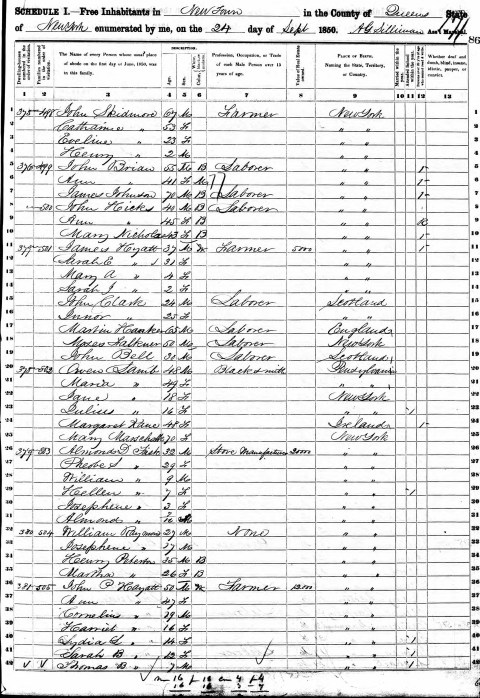 Martha Peterson 1850 census