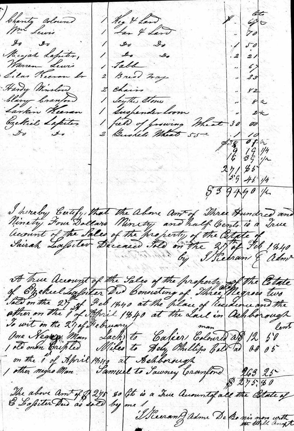 Sale of Miles from Estate of Ezekiel Lassiter