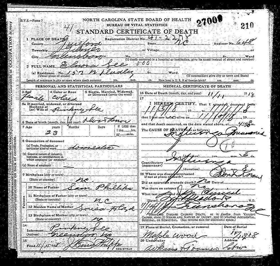 Doc 19-Elinora Phillips Lee Death Cert
