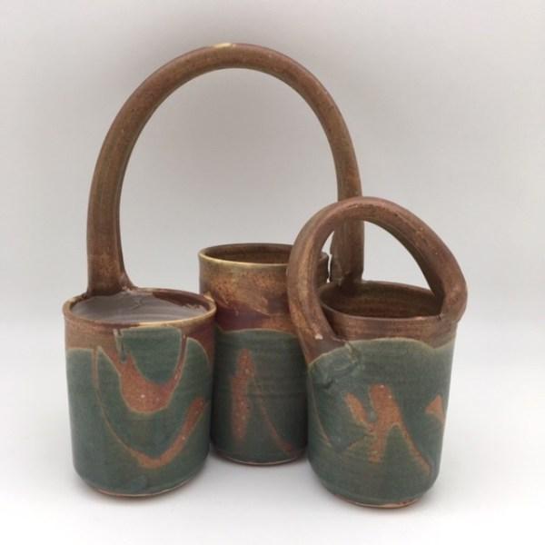 teal brown Porcelain Triple Basket by Margo Brown