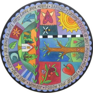 patchwork quilt Rhapsody in Blue Lazy Susan by Sincerely Sticks