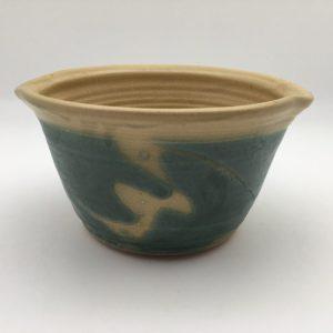 teal tan Stoneware Macaroni Pot by Margo Brown