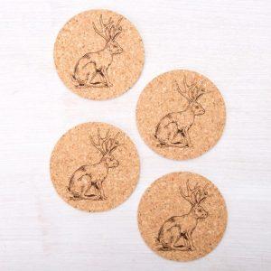 cork Jackalope Coasters