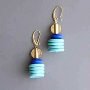 mint blue Glass Earrings by David Aubrey Designs
