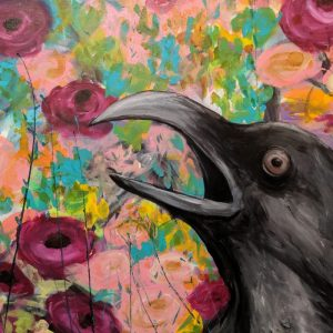 Crow With Flowers Painting by Kelsey McDonnell