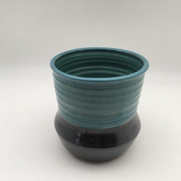 teal black Stoneware Utensil Holder by Margo Brown