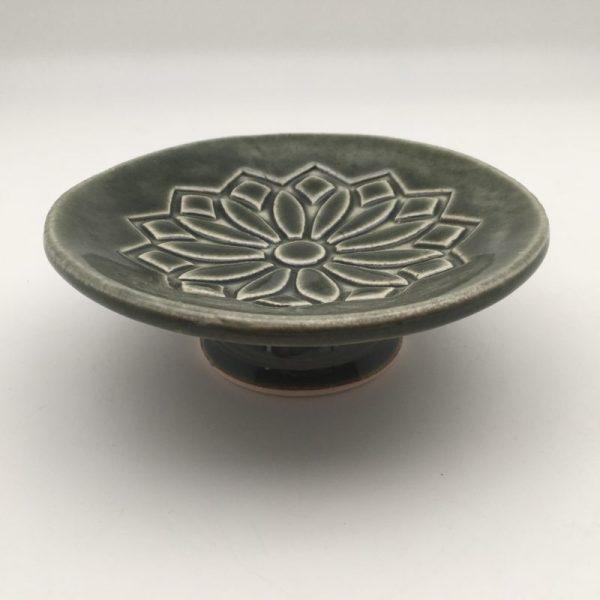 green Small Plate on Pedestal By Lynn Munns - Z-44
