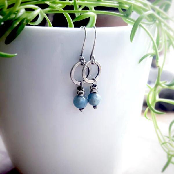Sterling Silver Amazonite Un Petit Clasp Earrings by Andewyn Moon