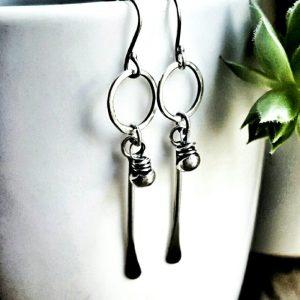 Sterling Silver Tribal Long Stem Clasp Earrings by Andewyn Moon