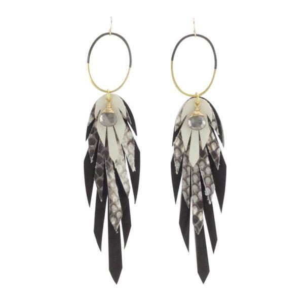 black white feather Pluma Vivo Earrings by bohemi
