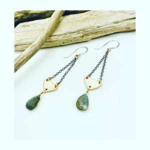 goldfill and sterling silver earrings with labradorite by laura j designs