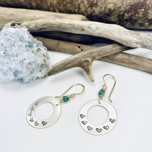 sterling silver disc earrings with tiny handstamped hearts and goldfilled wrapped turquoise by laura j designs