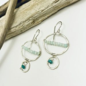 sterling silver earrings with Peruvian opal and turquoise by laura j designs