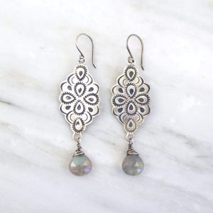 Peacock Mandala and Labradorite Statement Earrings Sarah Deangelo