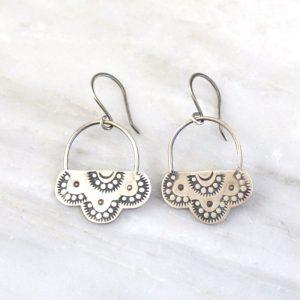 Wanderer Lacy Stamped Silver Earrings Sarah Deangelo