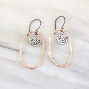 Wanderer Charm Rose Gold Hoop Earrings Sarah Deangelo