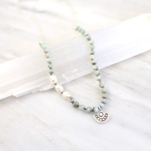 Wanderer Larimar and Pearl Mini Charm Necklace Sarah Deangelo
