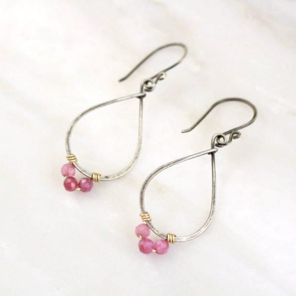 Pink Tourmaline Wrapped Teardrop Mixed Metal Hoop Earrings Sarah Deangelo