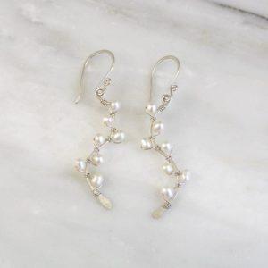 Pearl Wrapped Silver Vine Earrings Sarah Deangelo