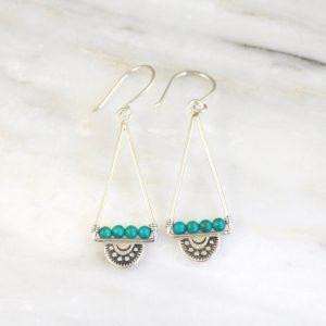 Wanderer Open Triangle Turquoise Earrings by Sarah DeAngelo