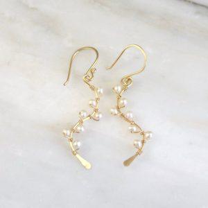 Pearl Wrapped Gold Vine Earrings Sarah Deangelo