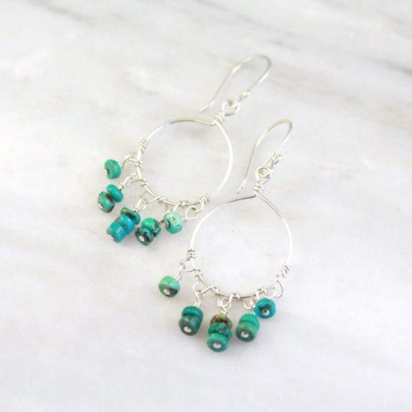 Turquoise Dangle Hoop Earrings Sarah Deangelo