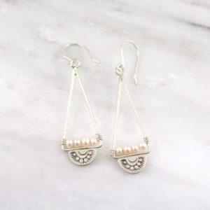 Wanderer Triangle Pearl Earrings Sarah Deangelo