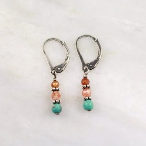 Stacked Turquoise Sunstone and Citrine Earrings Sarah Deangelo