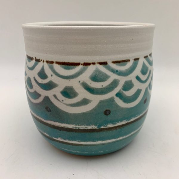 Turquoise Patterned Utensil Holder by Margo Brown