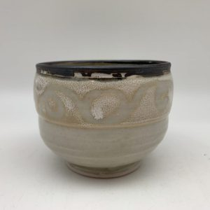 Tan and Cream Porcelain Bowl by Margo Brown