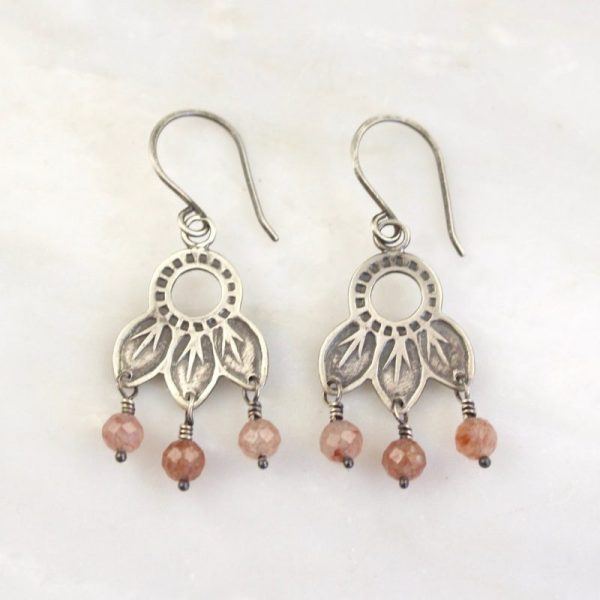 Hishi Strawberry Quartz Dangle Earrings by Sarah Deangelo