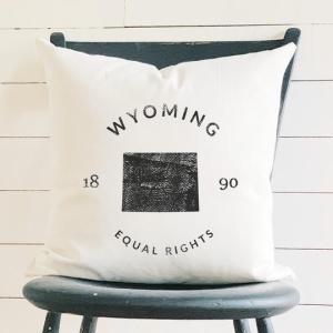 Wyoming State Badge and Motto Cotton Canvas Pillow Indigo Tangerine