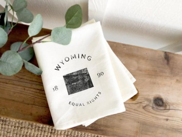 Wyoming State Badge and Motto - Cotton Tea Towel Indigo Tangerine