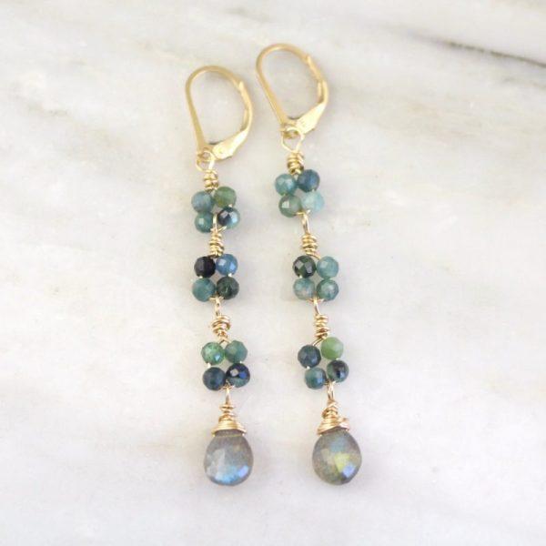 Blue Tourmaline & Labradorite Long Gold Earrings Sarah Deangelo
