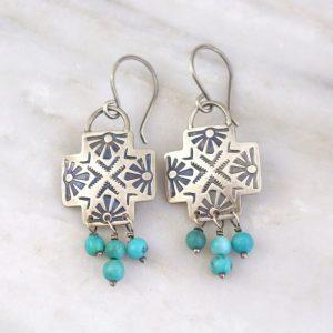 Sun Cross Turquoise Earrings Sarah Deangelo