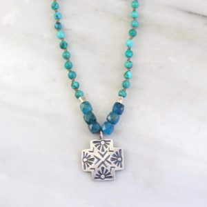Sun Cross Knotted Stone Necklace Sarah Deangelo