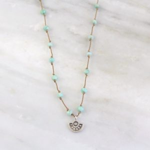 Wanderer Mini Charm Amazonite Knotted Necklace Sarah Deangelo