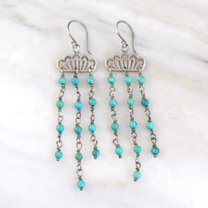 Southwest Lace Waterfall Earrings Turquoise Sarah Deangelo