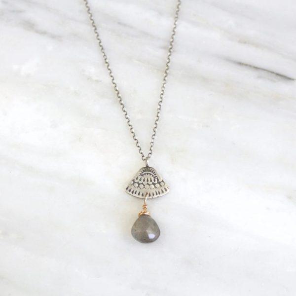 Asmi Triangle Mixed Metal Labradorite Necklace Sarah Deangelo